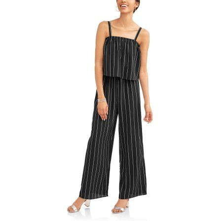 56636afe62fd Time and Tru Women s Woven Jumpsuit - Walmart.com