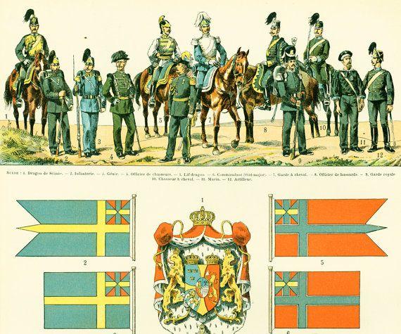 1897 Uniformes militaires Carte Suede Norvege par sofrenchvintage
