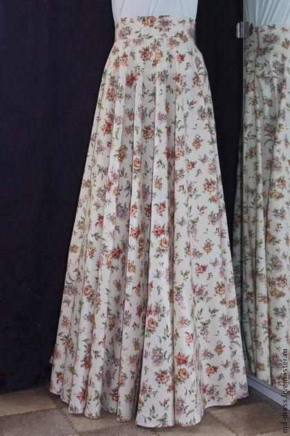 Винтаж (беж) - бежевый,цветочный,юбка в пол,юбка длинная,юбка макси,юбка солнце