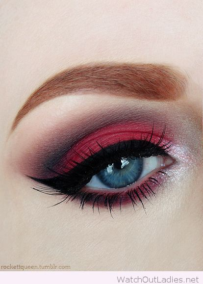 Red and black eye make-up