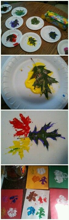 Easy young child craft leaf prints. It's great because you can start off with a nature walk and collect leaves, then you have an activity for when you get back home!