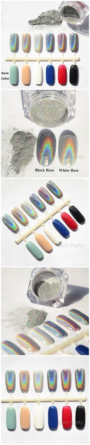 Holographic Laser Powder Nail Glitter Rainbow Pigment Manicure Chrome Pigments.