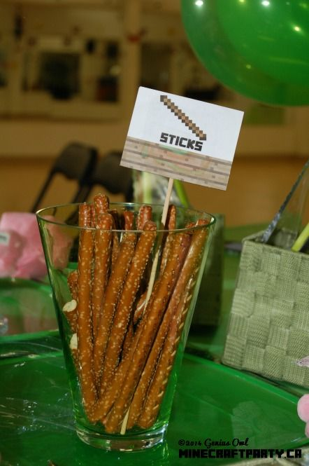 Sticks that you can eat! (one of the decorative/snack items in Genius Owl Minecraft Parties in Richmond Hill, ON)