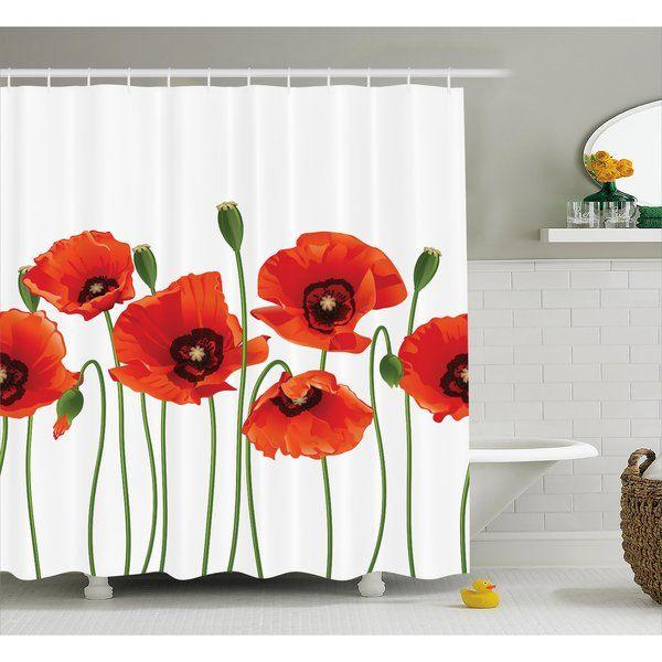 Spring Season Flowers Single Shower Curtain Floral Shower