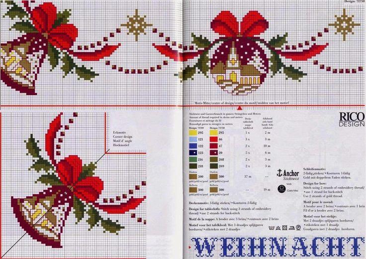 Hobby lavori femminili: schema punto croce bordure natalizzie