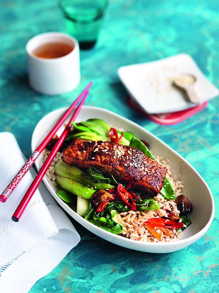 Five spice salmon with stir-fried veg - Recipe courtesy of Australian Healthy Food Guide