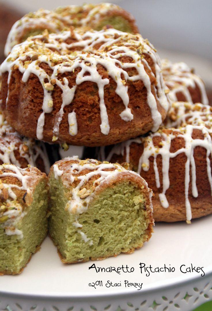 Amaretto Pistachio Cakes Looks like a perfect recipe for my mini bundt pan.