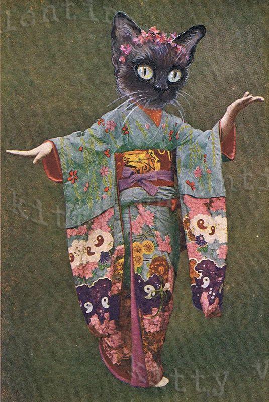 Victoriaanse kat kunst afdrukken door kitty Valentijn - siamese kat geisha