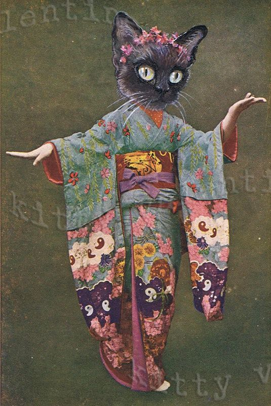 victorian cat art print by kitty valentine - siamese cat geisha