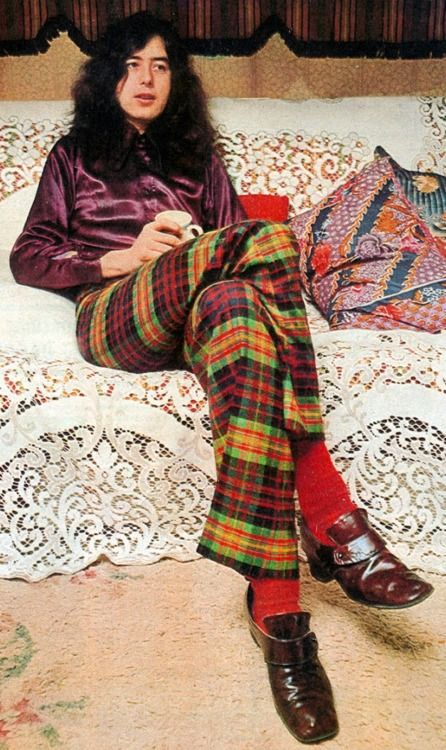 Led Zeppelin's Jimmy Page demonstrating his er unique fashion sense