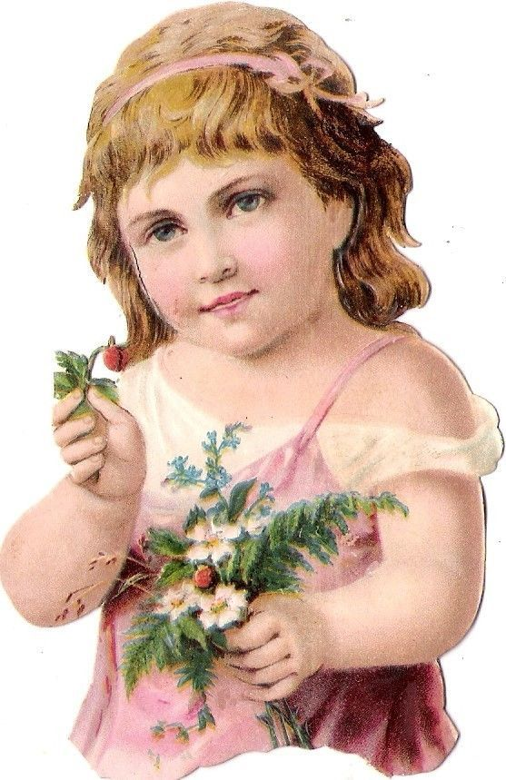Oblaten Glanzbild scrap die cut chromo Kind child enfant 11cm portrait Blume