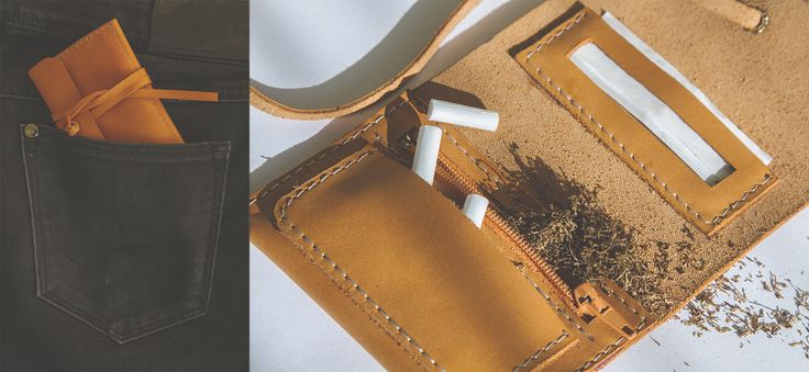 TOBACCO WALLET from natural leather. On sale - 19 €
