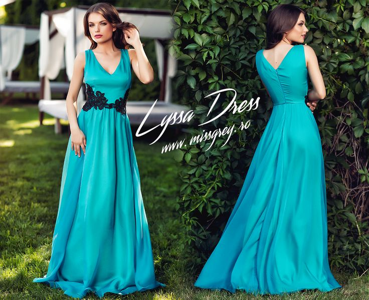 Lon evening dress made from turquoise silk veil, with black lace application at the waist, perfect for summer events: https://missgrey.ro/ro/rochii/rochie-lyssa-turcoaz/350?utm_campaign=colectie_iunie2&utm_medium=lyssa_turquoise&utm_source=pinterest_produs
