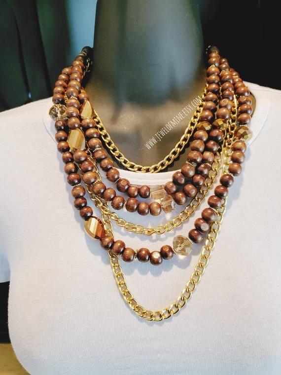 Ceramic and wooden beads multi-layer necklace