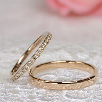 【永遠の愛 Eien no ai】 結婚指輪ペア K18ピンクゴールド 細めのハーフエタニティリングとシンプルなリング | 結婚指輪(マリッジリング) | | ノナカジュエリー