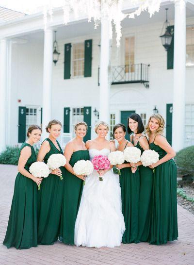 Beautiful hunter green bridesmaid dresses: http://www.stylemepretty.com/florida-weddings/sarasota/2014/02/10/marie-selby-botanical-gardens-wedding/ | Photography: Justin DeMutiss - http://justindemutiisphotography.com/