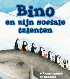 Bino en zijn sociale talenten Stimuleer sociaal gedrag in de dop op een speelse, maar gedegen manier. Met acht prentenboeken, liedjes-cd, handpoppen en stickervellen biedt Bino en zijn sociale talenten een totaalpakket om de sociaal-emotionele ontwikkeling van jonge kinderen gericht te ondersteunen. Met de lieve albino pinguïn Bino in de hoofdrol.