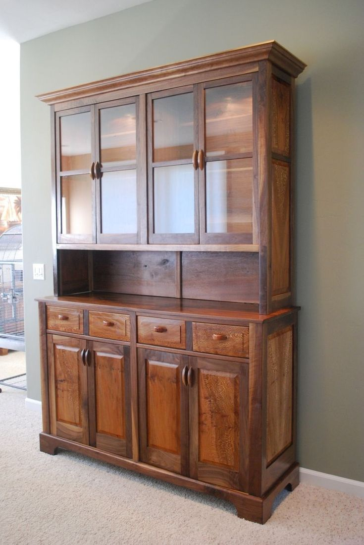 Custom Made Walnut And Sycamore China Hutch