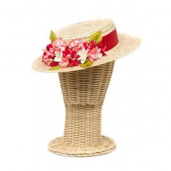Sombrero Canotier de copa baja · flores rojo - coral