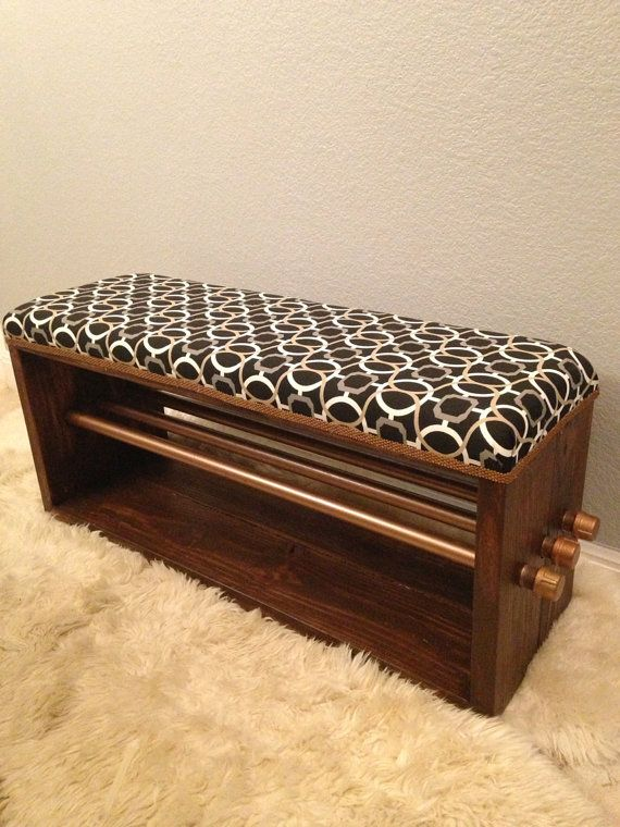 Industrial chic upholstered bench with pipe by IndustrialEnvy, $766.99