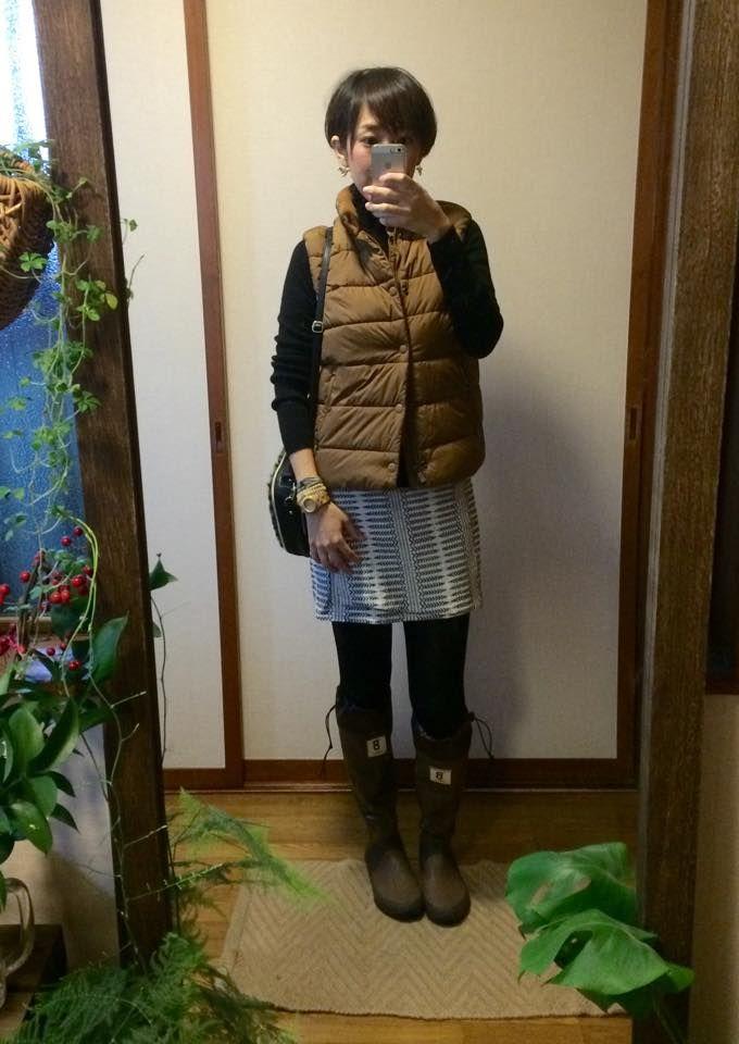 11月29日 GAPメンズダウンベストと野鳥の会ブーツの雨スタイルで過ごした休日