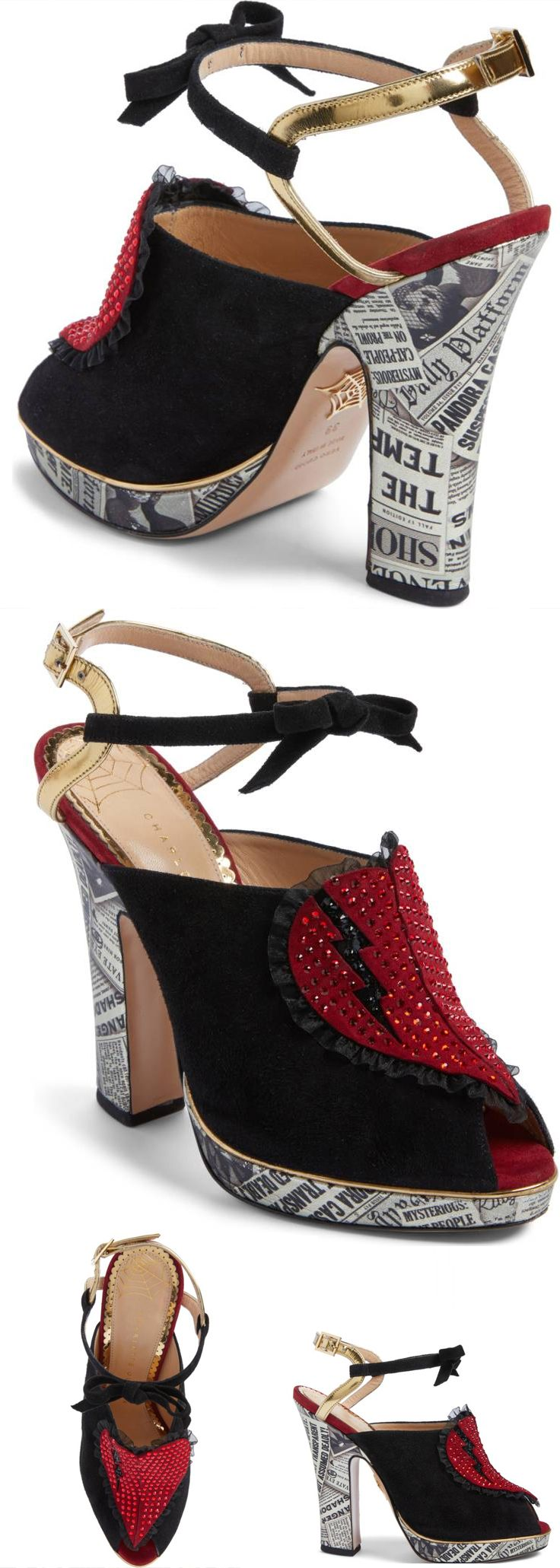 Just in at Nordstrom Women's Charlotte Olympia Killer Heels Sandal. This mixed-media sandal—in a modern interpretation of a 1940s silhouette takes iconography of the film-noir world and adds her signature playfulness. Newspaper print at the heel and platform make for statement-worthy accents, while a broken-hearted appliqué shimmers on the vamp. Halloween outfit or Valentines shoe maybe. Gifts for her? #shoes #shoesdaytuesday #affiliate #new #killerheels #halloween #valentines #giftsforher