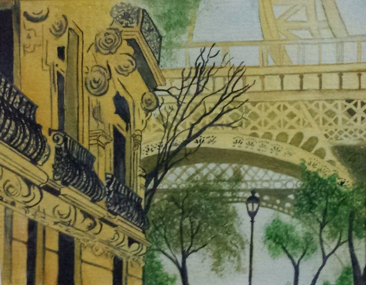 """""""Streets of Paris"""" by Suzanna Dénes - Architecture - Watercolor Painting (2015)"""