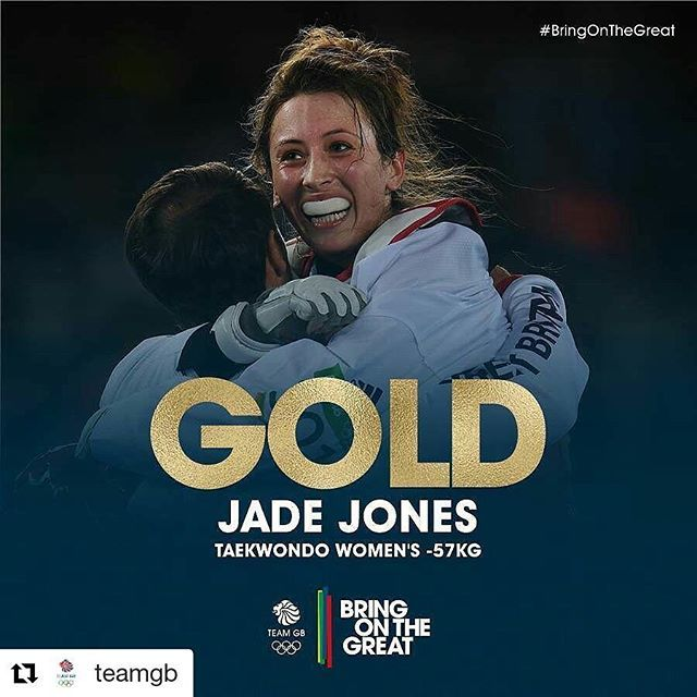 #Repost @teamgb with @repostapp ・・・ #Gold! She does it! A magnificent final round sees Jade Jones retain her Olympic #taekwondo crown! Brilliant! Congratulations Jade! #BringOnTheGreat #teamgb #olympicgames