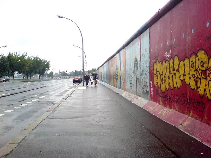 Remaining stretch of the Wall near Ostbahnhof in Friedrichshain called East Side Gallery, August 2006