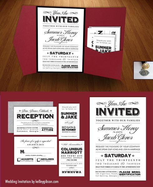 Wedding Invitations | KelleyGibson.com  Red, Black, Silver & White  Pocket fold, reception card, registry card, RSVP card, & accommodations card