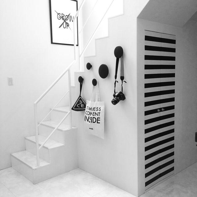 1Fの階段/MUUTO/シマシマ/モノトーン/白黒のインテリア実例 - 2014-05-15 12:29:30   RoomClip(ルームクリップ)