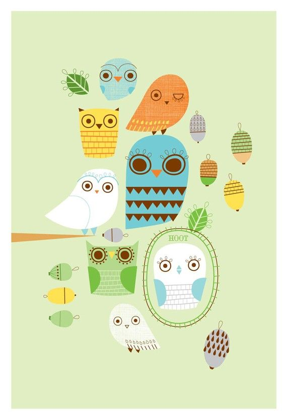 Wonderful colors, fabulous design and definitely owl love!!  http://www.etsy.com/listing/58030097/give-a-hoot-limited-edition-print