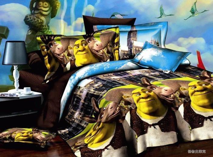 3d Cartoon Shrek Children Comforter Sets 4pcs Bedding Set