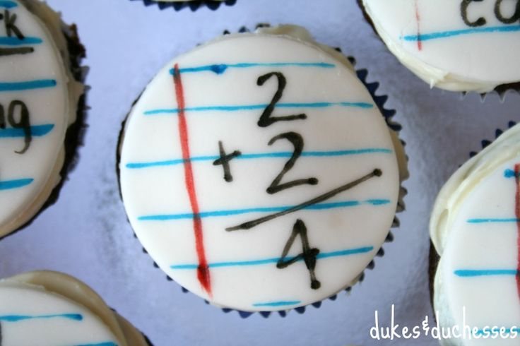 Back to school, cupcakes and math.  What a n excellent combination.  You could make these with actual problems that you want your students to solve.  They have to solve the problem before they can eat the treat.