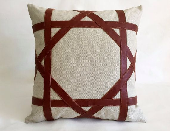 Lattice Modern Linen and Leather Cushion by RenaissanceCushions