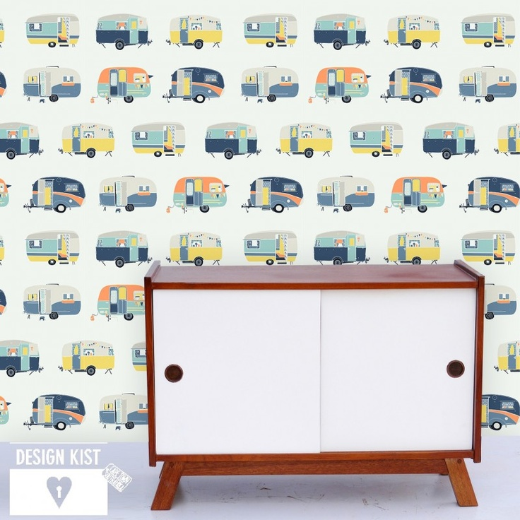 Vintage Caravans wallpaper panel