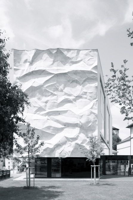 High School Crinkled Wall in Austria by Wiesflecker Architecture