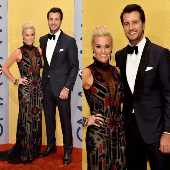 Luke and Caroline Bryan attends the 50th annual CMA Awards at the Bridgestone Arena on November 2, 2016 in Nashville, Tennessee.