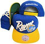 Los Angeles Rams Diagonal Script Blue/Yellow Two Tone Plastic Snapback Adjustable Hat / Cap