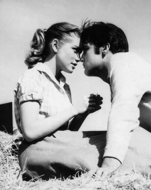 Elvis Presley and Dolores Hart in Loving You, 1957. (added by me: Just learned that Dolores Hart is now Reverend Mother Dolores Hart, the prioress of the Regina Laudis Abbey. And she still gets questions about what it was like to kiss Elvis!)