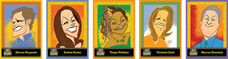 "Justin ""Squigs"" Robertson ~ ""Lights of Broadway"" Show Cards: Steven Pasquale, Sutton Foster, Tonya Pinkins, Victoria Clark, Harvey Fierstein"