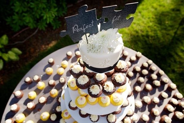 """""""Perfect fit"""" puzzle piece wedding cake topper"""