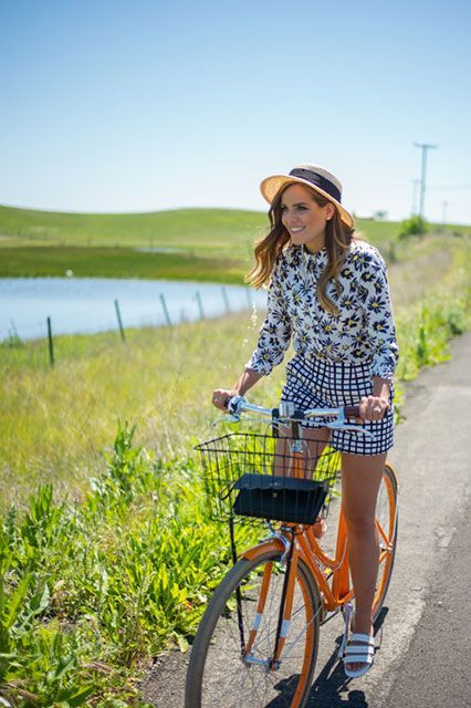 12 Brilliant Spring Outfit Ideas To Try Right Now #refinery29  http://www.refinery29.com/san-francisco-blogger-spring-street-style-pictures#slide-3  This may just be the best wine-country outfit we've seen yet. Julia Engel of Gal Meets Glam adds Parisian style into her ensemble with an adorable hat by Eugenia Kim and a bright orange cycle.