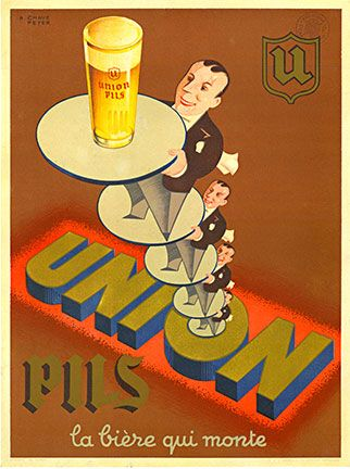 Union Pils, Chave Peyer, art deco design of waiters stacked on each other's serving tray.