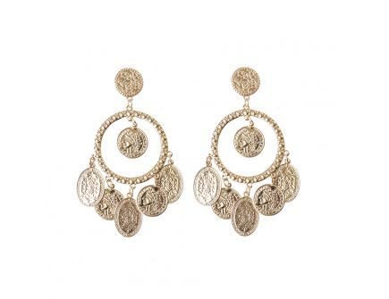 STATEMENT GOLD COIN DROP EARRINGS