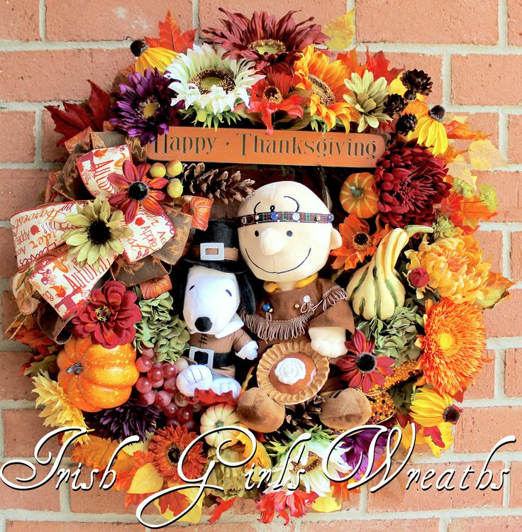 Indian Charlie Brown and Pilgrim Snoopy Thanksgiving Wreath, pumpkin pie, Deluxe Peanuts Holiday- 1 of a KIND- NO REPRODUCTIONS, Fall Wreath by IrishGirlsWreaths on Etsy