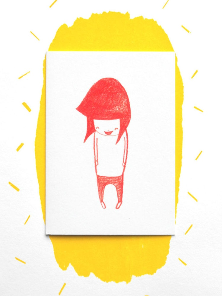 Gon on! Make someone smile from ear to ear with this orange-red scribbly wibbly illustration