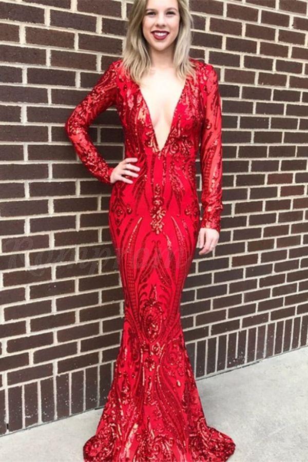cb16f1b8707 Mermaid Deep V-Neck Long Sleeves Floor-Length Red Prom Dress with ...