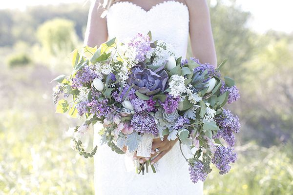Lilacs, succulents, and Queen Anne's lace | Photo by Lauren Albanese | Floral design by Intertwine