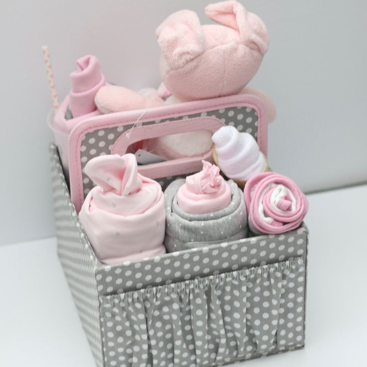 Baby Girl Gift Pink & Grey, Girl Baby Shower Grey and Pink, Newborn Girl Gift, Pink and Grey baby girl gift basket, Grey Diaper Caddy by RsBabyBaskets on Etsy